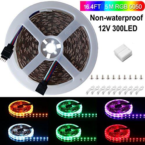 Ruban LED, Sparke 5M 5050 RGB Multicolore SMD 300 LED Bande Flexible Lumineux Strip Light pour Décoration Intérieure, Eclairage Design et Moderne Salon, TV, Bar, meubles