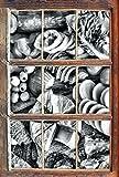 Monocrome, Brot Brötchen Frühstück Bäcker Milch Weizen Fenster im 3D-Look, Wand- oder Türaufkleber Format: 92x62cm, Wandsticker, Wandtattoo, Wanddekoration