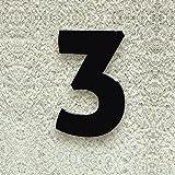 Colours-Manufaktur Hausnummer Nr. 3 - Schriftart: Modern - Höhe: 20-30 cm - viele Farben wählbar (RAL 9005 tiefschwarz (schwarz) glänzend, 20 cm)