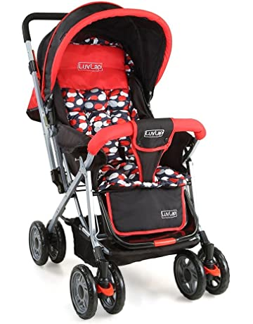LuvLap Sunshine Stroller/Pram, with Mosquito net, for Newborn Baby/Kids, 0-3 Years (Red)
