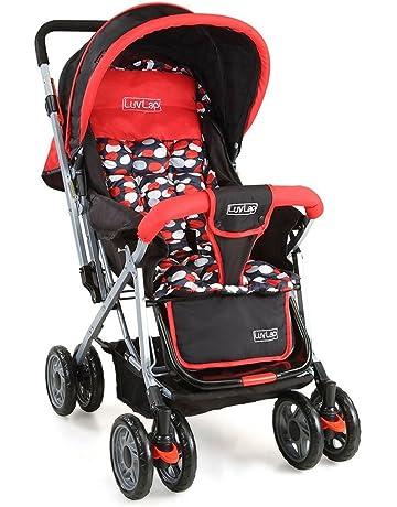 LuvLap Sunshine Stroller/Pram, with Mosquito net, for Newborn Baby/Kids, 0-3 Years (Red)