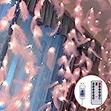 Danolt 300 LED Rose Plumes Fée Guirlande Lumineuse avec 8 Modes de Lumière Télécommande Romantique Mur Rideau Décoration pour