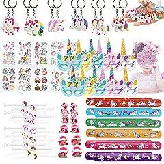 Idea Regalo - SHI WU Unicorn Party Pack Filler, Bracciale con Unicorno, Maschera di Carta, Portachiavi, Bracciale, Tatuaggio Unicorno, Compleanno Festa a Tema Pacchetto 70 Pezzi