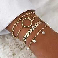 Yean – Lot de 4 bracelets à perles style bohème, doré