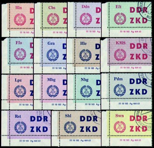 Goldhahn DDR Dienstmarken C Nr. 1-15 DV mit amtlichen Ungültig-Stempeln - Briefmarken für Sammler