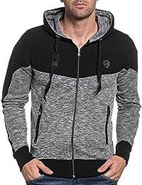 BLZ jeans - Sweat zippé homme noir à capuche tendance