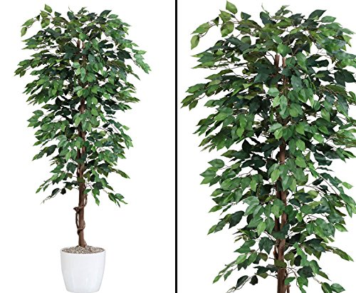 Kunstbaum 200cm Ficus Benjamini grün mit 2064 Blätter aus Textilfaser Material