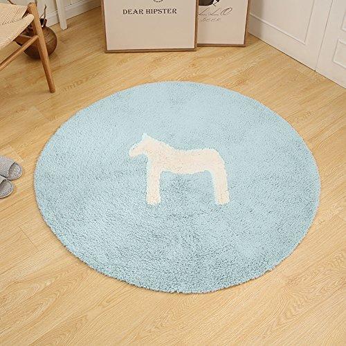 Small Horse Teppich Schlafzimmer Flur Fußbett Kreative Skidproof Teppich Kriechenmatte Abgerundete Alle Baumwolle ( Farbe : Weiß , größe : 120cm ) -