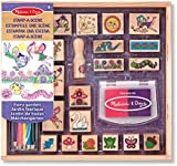 Melissa & Doug Stamp-a-Scene Stamp Pad: Fairy Garden - 20 Wooden Stamps, 5 Coloured Pencils, and 2-Colour Stamp Pad
