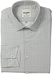 Ben Sherman Mens Skinny Fit Mini Paisley Print Spread Collar Dress Shirt, Grey/Black, 17.5 Neck 36-37 Sleeve