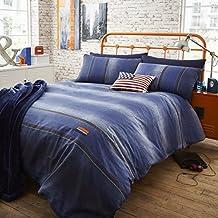 Catherine Lansfield Denim - Funda nórdica y funda de almohada cama, 220 x 180 cm, color azul