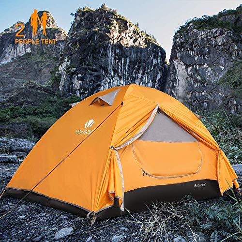 V VONTOX Camping Zelt, 2-3 Personen Wasserdichtes Ultraleichte Kuppelzelt, mit Aluminum Zeltstange 3-4 Saison Zelt, Kompaktes, für Familien Reisen, Strand, Camping und Outdoor