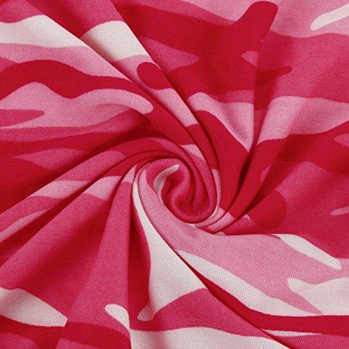 Jimmackey Donna Moda Casual Camicetta Mimetica Stampa Lunga Camicia Manica Rosa caldo