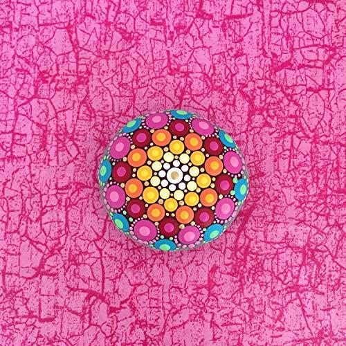 Mandala-Stein Be Happy - mit Acrylfarben in Punktetechnik handbemalter Mandala-Stein, als Geschenk, für Meditation + Yoga oder als Deko -