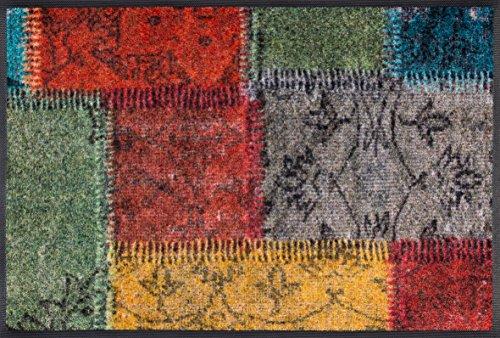 wash+dry Vintage Patches Fußmatte, Acryl, bunt, 75 x 50 x 0.7 cm