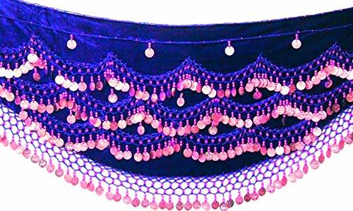 BIG PLUS SIZE UK 24 - 28 XXXL MEGA NOISY Bauchtanz Hüftgürtel Schals Tanz Kostüm Münzen Gürtel (KÖNIGLICHER BLAUER (Plus Size Fancy Damen Dress)