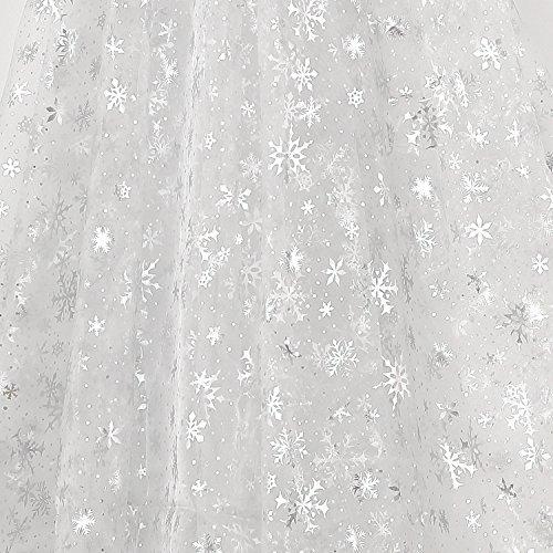 Deconovo Mantel Transparente Organdí Copo Nieve Plata