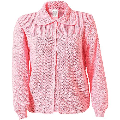 Caressa-Ladies-Knitted-Acrylic-Button-Fastening-Collared-Bed-Jacket