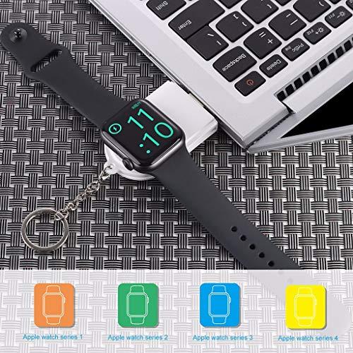 HappySDH Ladegerät für iWatch, Apple Watch Ladegerät kabellos Energiebank Magnetisches Power Bank Charger Tragbare kompakte Reisebatterie für 38mm 40 42mm 44mm Series 1/2/3/4 (Weiß) - 10 Bank-ladegerät