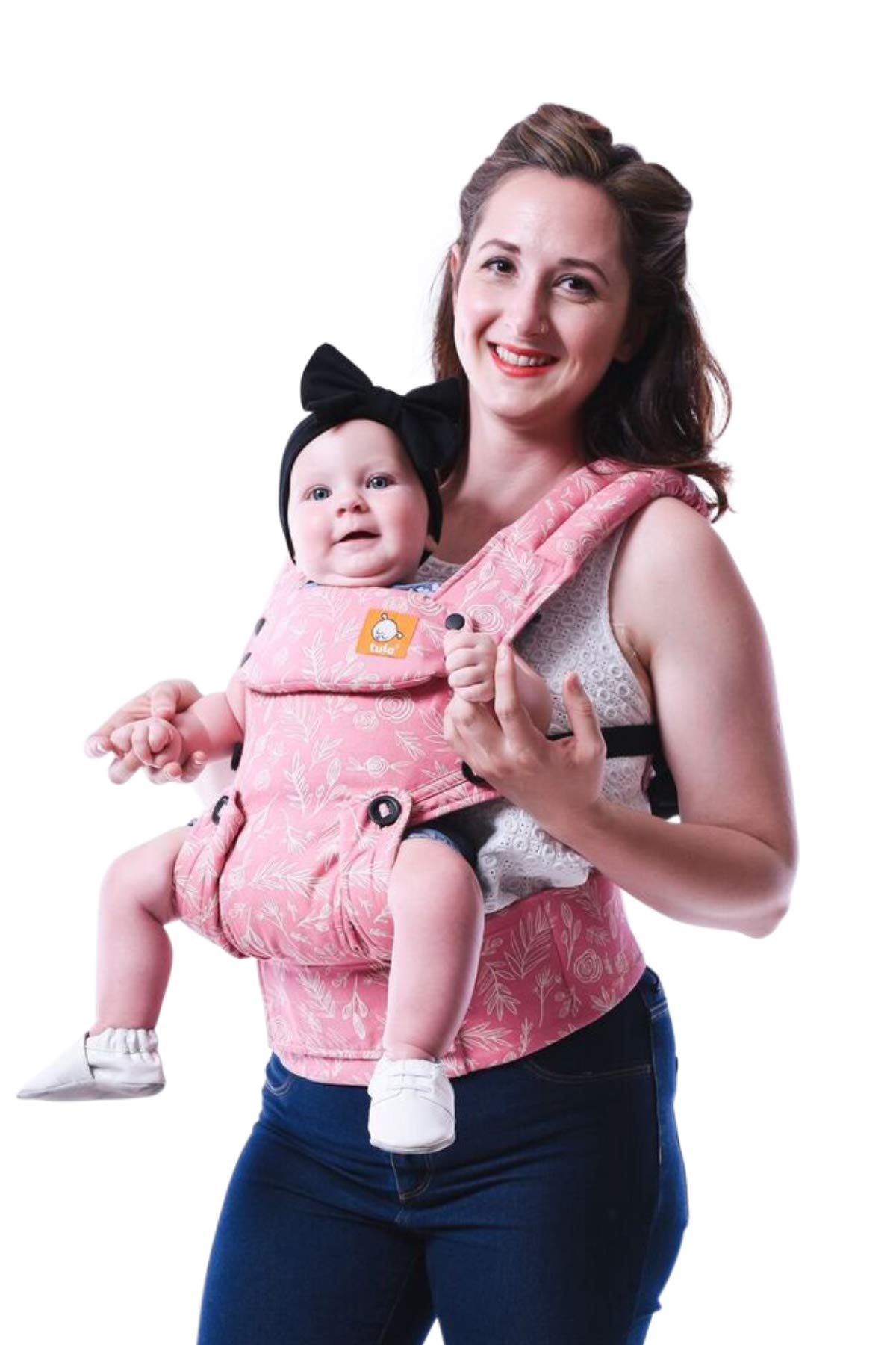 Baby Tula Explore Baby Carrier 3.2 - 20.4 kg, Adjustable Newborn to Toddler Carrier, Multiple Ergonomic Positions, Front and Back Carry, Easy-to-Use, Lightweight - Bloom, Pink and White Floral Tula  1