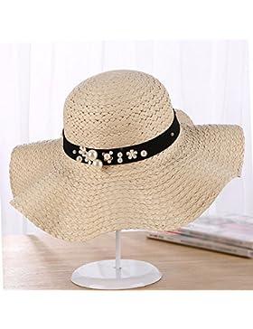 LVLIDAN Sombrero para el sol del verano Lady Anti-sol Gran cara ancha playa sombrero de paja plegable beige