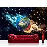 Fototapete 368x254 cm PREMIUM Wand Foto Tapete Wand Bild Papiertapete - Welt Tapete Erde Welt Weltraum Sternenhimmel Weltraum Galaxie schwarz - no. 2437