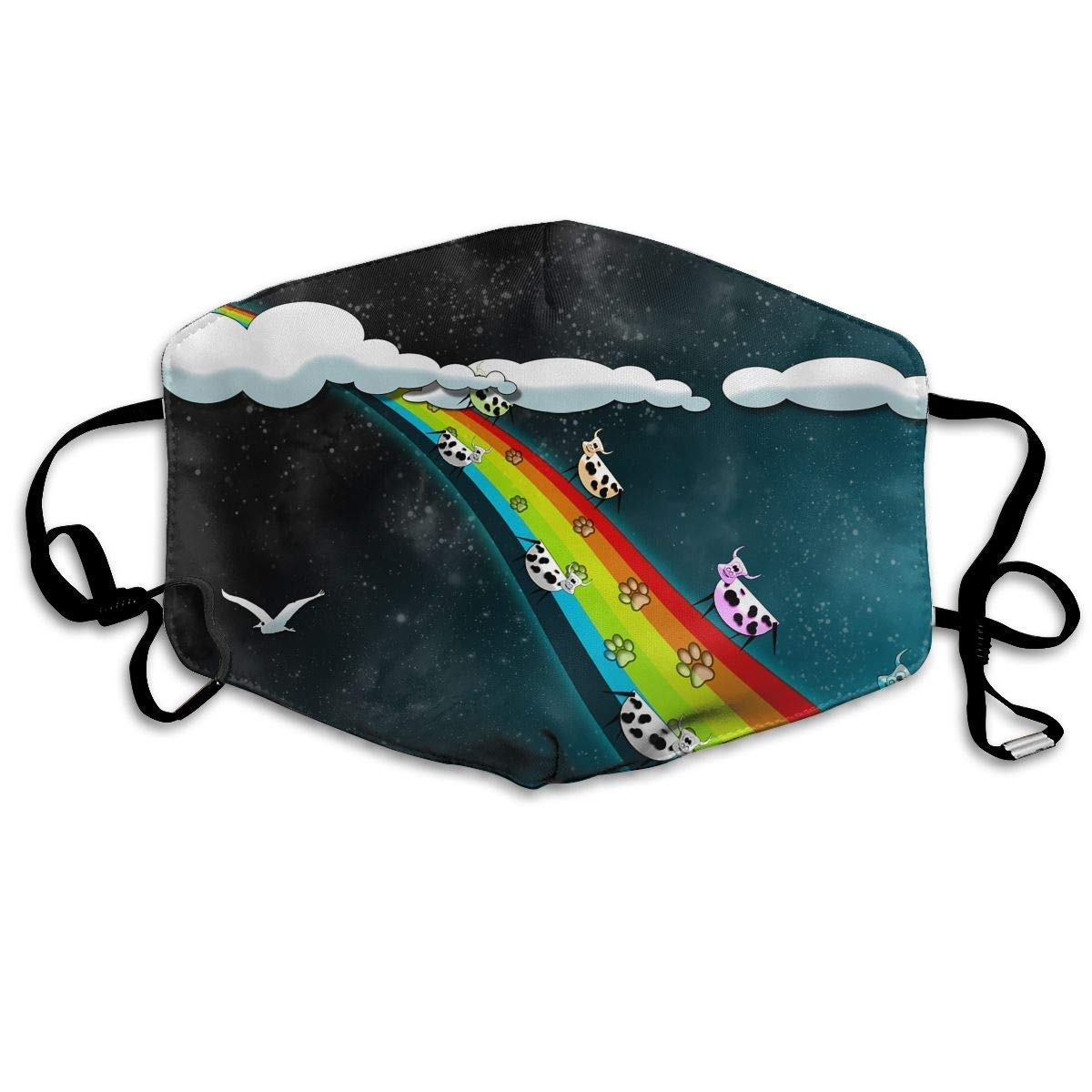 Daawqee Mascarillas, Anti Dust Pollution Mask Rainbow Moon Print Reusable Washable Earloop Face Mouth Mask for Men Women