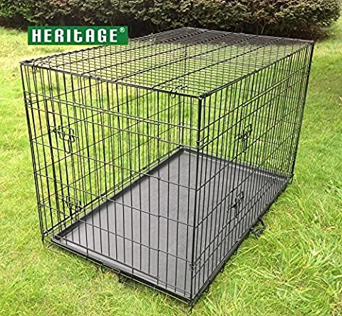 HERITAGE DOG PUPPY CAGE FOLDING 2 DOOR CRATE BLACK S M L XL 24