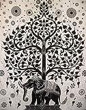 Traditional Jaipur Groß Baum des Lebens Wandteppich, Motiv Indischer Elefant Wandbehang, Boho Bettwäsche Queen Hippie, Wohnheim Zimmer Dekoration, Bohemian Strand Decke, Hippie Picknick Überwurf