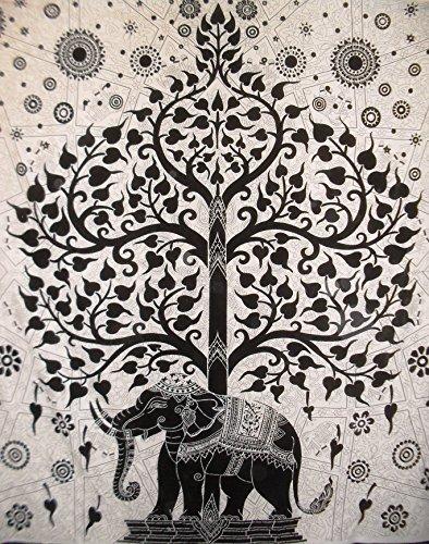 Traditional Jaipur Groß Baum des Lebens Wandteppich, Motiv Indischer Elefant Wandbehang, Boho Bettwäsche Queen Hippie, Wohnheim Zimmer Dekoration, Bohemian Strand Decke, Hippie Picknick Überwurf -