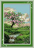 YEESAM ART® New Cross Stitch Kits Advanced - Spring Peach Blossom 14 Count 53x77 cm White Canvas - Needlework Christmas Gifts