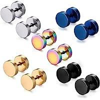Jaetech House 5 paia di orecchini a cerchio da 8 mm, in titanio, da uomo, in acciaio inox, stile punk (5 paia di…