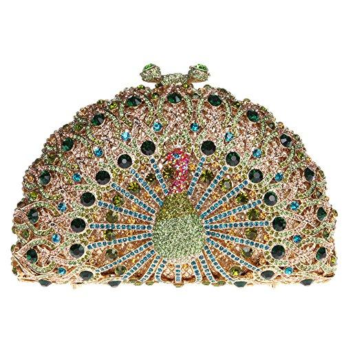 Bonjanvye Glitter Crystal Peacock Clutch for Girls Peacock Clutch Evening Bag Dark Blue green