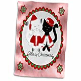 3dRose Cute Merry Christmas rot gestreift Frau Santa Siam und schwarz Katzen Handtuch, weiß, 15x 22