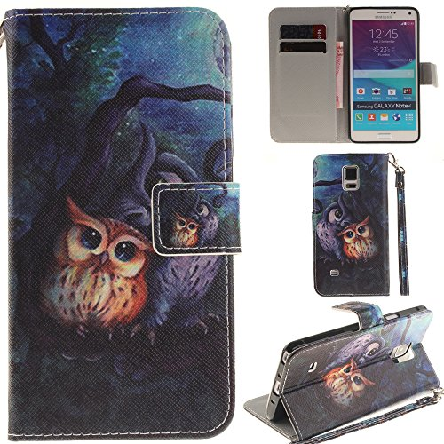 Ooboom® Samsung Galaxy Note 4 Hülle Flip PU Leder Handy Tasche Case Cover Schutzhülle Wallet Standfunktion Kartenfach für Samsung Galaxy Note 4 - Eule (Eule Handy Cover Für Note 3)
