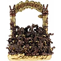 Baygifts Chinese Dragon World Ornament - Display Stand WIth 12 Figurines