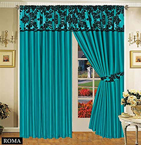 Kelly Half Flock With Plain Design Damask Ready Made Pencil Pleat Curtains - Cyan Teal Black (66