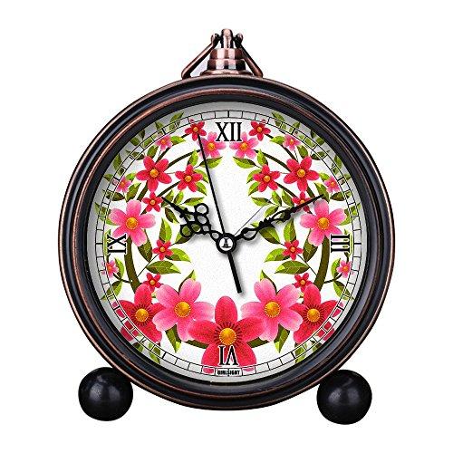 Retro Pink Rose Flower Circular Home Decor Table Clock Resin Battery Electronic