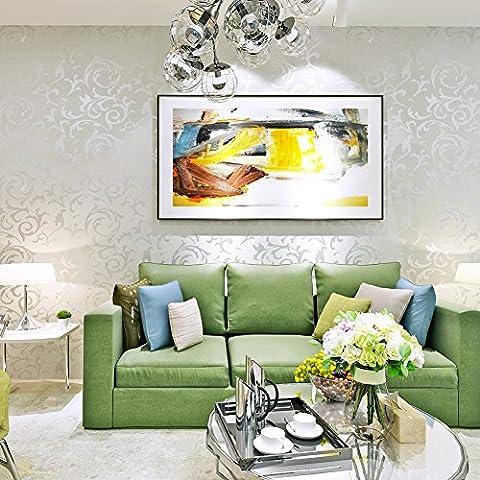 Hanmero Wandwelt Mustertapete Sehr Hochwertig Umweltschutz Europa Bersilbern Sofa Fernseher Hintergrund Nahtlos 3D Style Geprägt Relief Vliestapete 0,7*8,4m 4 Farben für Wohnzimmer Livingroom (Silber-grau)