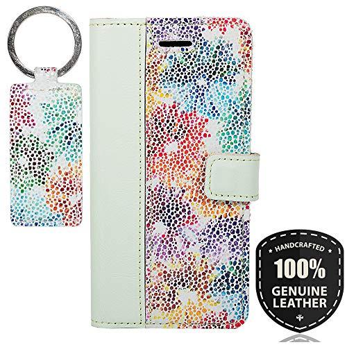 SURAZO Pastel Mint/Blumen - Duo Premium Vintage Ledertasche Schutzhülle Wallet Case aus Echtesleder Farbe Mehrfarbig für Nokia 6 2017 (5,50 Zoll)