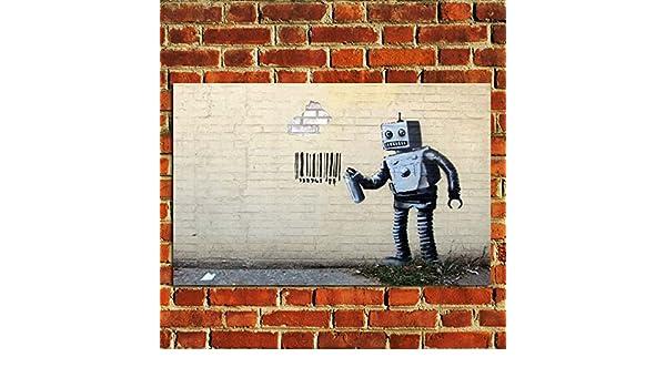 Banksy Graffiti ROBOT CODICE A BARRE POSTER qualità Wall Art Print PICTURE a4 a3 a2