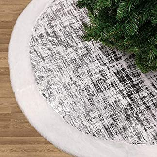 Valery Madelyn 91cm Falda del árbol de Navidad con Piel Sintética de Plata y Blanco Decoraciones para árboles de Navidad, Adornos de Navidad, Temática con Bolas Navideñas (No Incluidas)