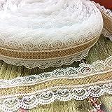 Gysad Rouleau de ruban en toile de jute naturelle vintage avec dentelle blanche faite à la main Cadeau pour fête de mariage Décoration de maison 2,5 cm x 2 m