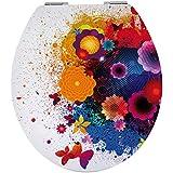 Sanwood by Nicol 6098737Fleur Abattant de WC en panneau MDF Core Charnière Barre en métal plaqué chrome Transparent 1l