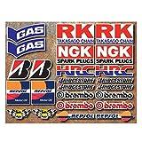 Lot de 24 autocollants Onekool-Pour moto de course-Motifs: HRC, GAS, RK, NGK, Bridgestone, Brembo, Repsol
