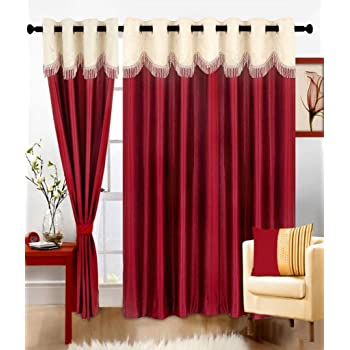 Super India Plain 3 Piece Polyester Door Curtain Set - 7ft, Maroon