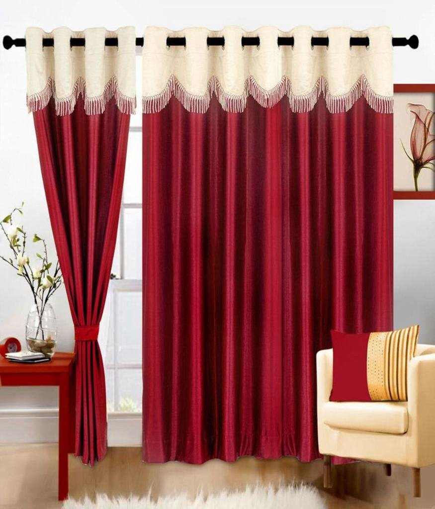 Buy Super India Plain 3 Piece Polyester Door Curtain Set   7ft, Blue Online  At Low Prices In India   Amazon.in