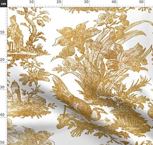 Toile De Jouy, Chinoiserie, Asiatisch, Gold, Chinesisch, Altmodisch Stoffe - Individuell Bedruckt von Spoonflower - Design von Peacoquettedesigns Gedruckt auf Baumwollstoff Klassik (Asiatische Stoff Toile)