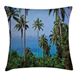 Palm Tree Decor Throw Pillow Cushion Cover, Ocean Scene from Jungle Tropical Beauty Natural Paradise in Nature Theme, Decorative Square Accent Pillow Case,Blue Green 20X20 inches