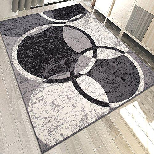Carpeto Designer Teppich Retro Kreis Muster Meliert in Grau - ÖKO Tex (250 x 350 cm) -
